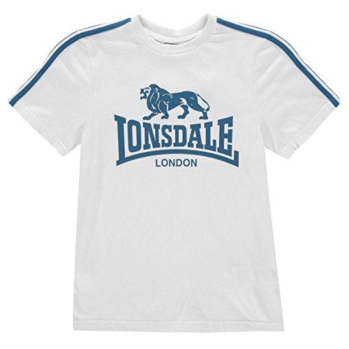Lonsdale Jungen Logo T Shirt Kurzarm Rundhals Weiß/Blau 9-10 Jahre