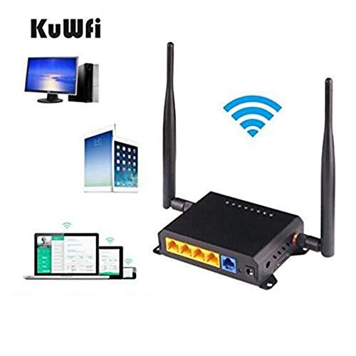 KuWFi-WLAN Router,3000 Mbit / s Wireless-Gigabit,2-teilige Antenne für leistungsstarkes WLAN-Signal und externem Leistungsverstärker, geeignet für Unternehmens-,Privat-,Geschäfts- und Büronetzwerke -