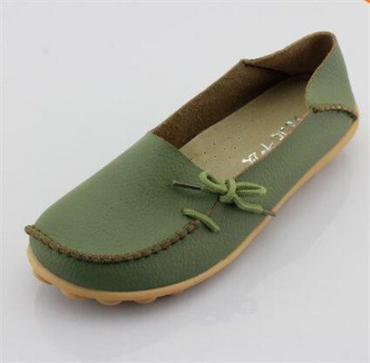LEIT YFF Femme Chaussures Plates Occasionnels Lace-Up Chaussures en Cuir Véritable Army Green