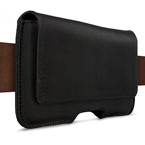 ROYALZ Ledertasche für Huawei Honor 5C Gürteltasche Schutzhülle Handy Tasche Universal Lederhülle Schutztasche Case schwarz