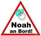 easydruck24de Auto-Aufkleber Baby an Bord, Noah I kfz_457 I 16 x 14 cm groß I Junge Sticker mit Schnuller I Hinweis-Aufkleber Achtung Vorsicht dreieckig wetterfest