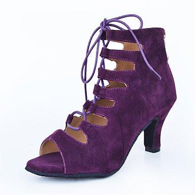 XIAMUO Nicht anpassbar - Die Frauen tanzen Schuhe Leder Leder Latin/Moderne Turnschuhe Ferse Praxis Schwarz