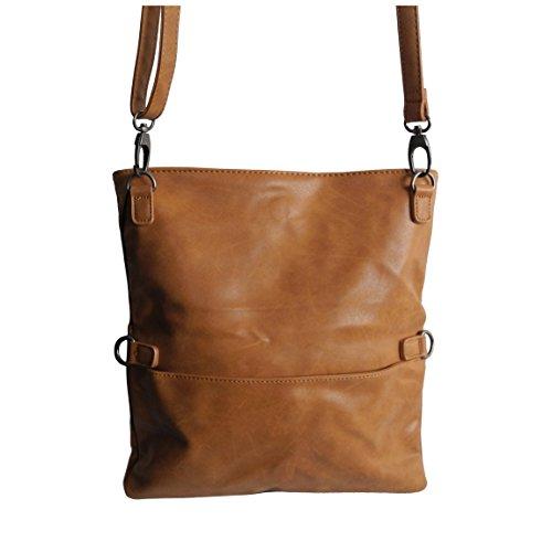 Umhängetasche foldable von Jennifer Jones - 2 Style Damen Handtasche , Damentasche , Schultertasche , Abendtasche mit Magnetverschlüssen ( Cognac ) - präsentiert von ZMOKA® (Leder Elfenbein Tasche Handtasche)