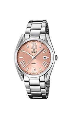 Festina 0 - Reloj de cuarzo para mujer, con correa de acero inoxidable, color plateado de Festina