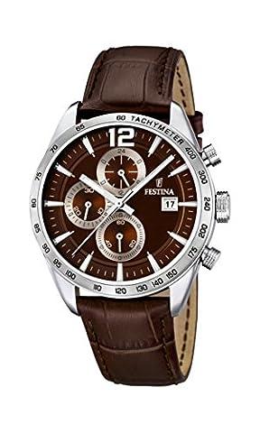 Festina Herren-Armbanduhr XL Chronograph Quarz Leder F16760/2