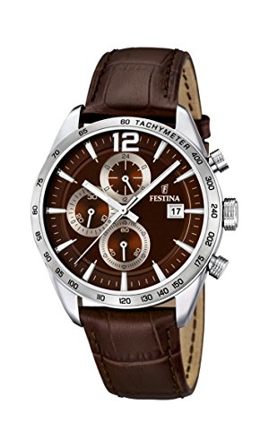 Festina Men's Quartz Watch with Brown Dial Chronograph Display and Brown Leather Strap F16760/2