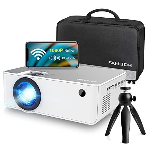 "Oferta de Fangor - Proyector WiFi HD inalámbrico 1080P Nativo Proyector Bluetooth Home Theater 5500 lúmenes con 230"", compatible con TV Stick, HDMI, VGA, USB, Laptop, iPhone / Android"