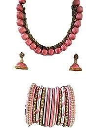 Viraj Collections Pink Silk Thread Jewellery Set For Women