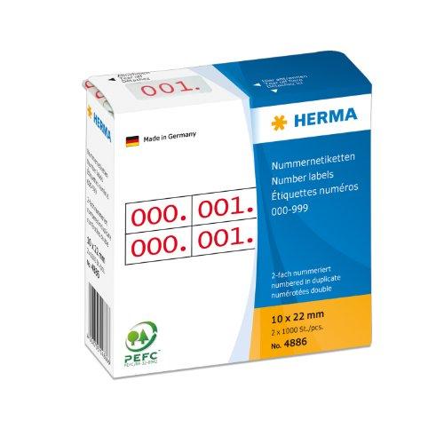 Herma 4886 Nummernetiketten Zahlenaufkleber 000 bis 999 (selbstklebend, bedruckt, 10 x 22 mm) 2.000 Stück (jede Zahl 2 x vorhanden), rot