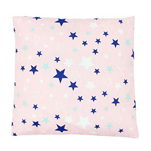 TupTam Kissenhülle Dekorativ Gemustert, Farbe: Sterne Dunkelblau Weiß/Rosa, Größe: 80 x 80 cm