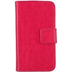 """Gukas Housse Coque Pour SFR Starxtrem 5 5.5"""" PU Leather Cuir Etui Case Cover Flip Protection Portefeuille Wallet Rose"""