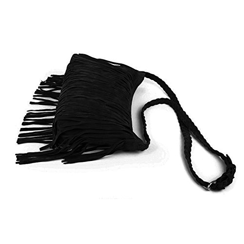AiSi Borsa a tracolla e da spalla, in pelle scamosciata sintetica, stile hippie e cowgirl, con nappe, Purple (Viola) - kb-24 Black