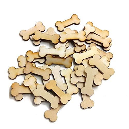 SUPVOX 50 Stücke Unfinished Holz Ausschnitte Hundeknochen Form Natürliche Holzstücke für Holz Verschönerung DIY Handwerk - Unfinished Holz