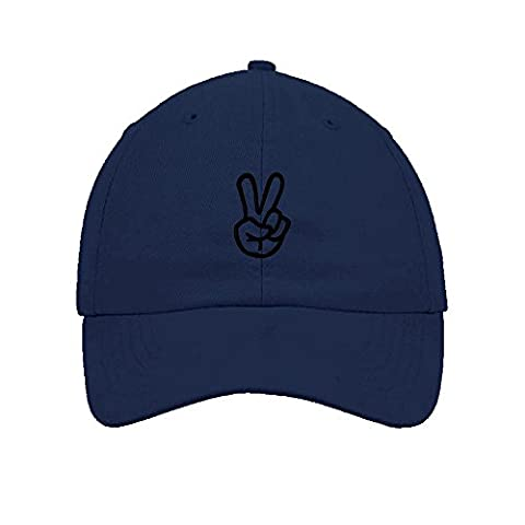 Feruch Hand Peace Sign Embroidered Soft Unstructured Hat Baseball Cap