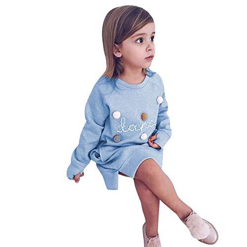JiaMeng Kleinkind Kinder Baby Mädchen Brief Pullover Kleid Outfits Haare Ballkleider