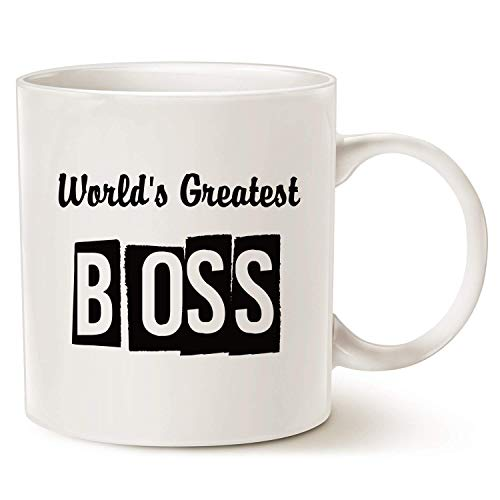 Funny Best Boss Office Coffee Mug, World's Greatest Boss with Middle Finger on The Bottom Unique Present Idea Porcelain Cup, Best Gag Gifts Idea for Boss Day,11oz