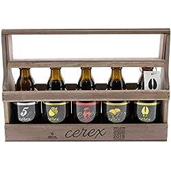 CEREX- Pack Degustación de 5 Cervezas Artesanas Españolas con caja regalo de presentación en madera - Cerveza de Cereza, Castaña, Ibérica de Bellota, Pilsen y Andares