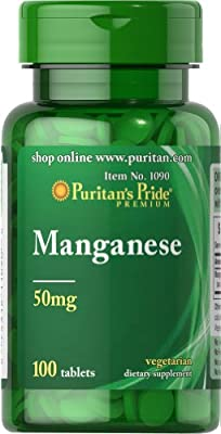 Puritan's Pride Manganese 50 mg 100 Tablets 1090 by Puritan's Pride