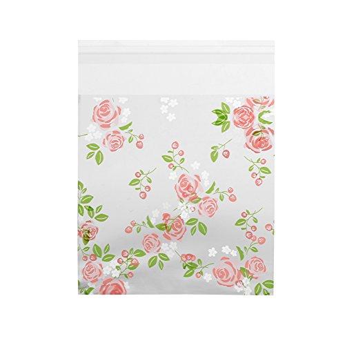 Yosoo Plastiktüten mit Blumenmuster, selbstklebend, aus Kunststoff, zum Einpacken von Süßigkeiten / Keksen, perfekt für die Party-Bäckerei, 100 Stück Rose -10x10cm