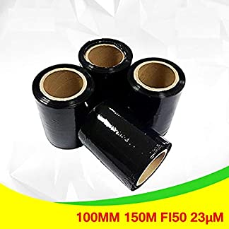 Net4Client 4 x Paquete Stretch Wrap Rolls Negro Cajas de Embalaje de Paquetes Wrap Cling Film String Rolls Rápido y Fuerte Paquete de Paquetes Black Cling Film para Embalaje 100mm 150m Fi50 23µm
