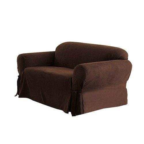 Grand Linen Schonbezug aus Mikro-Wildleder, 3 Stück, 2 Stück, Sofabezug, Loveseat Bezug und Sessel Couchbezüge erhältlich, Polyester-Mischgewebe, braun, Sofa Cover