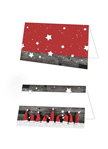 100 Stück weihnachtliche Namenskärtchen NIKOLAUS Santa WEIHNACHTS-MÜTZEN rot weiße graue Tischkarten Namens-Schilder Sitzkarten Platzkarten Tisch-Aufsteller zur Weihnachts-Dekoration Weihnachts-Feier Tischdeko