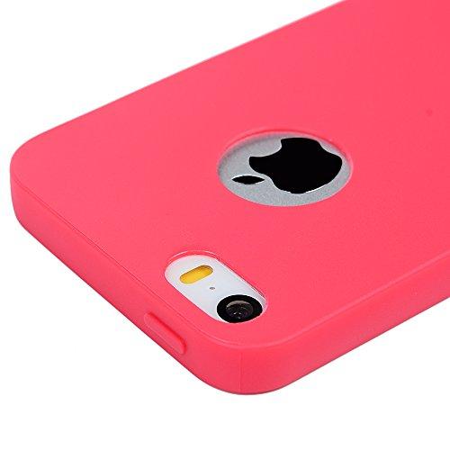 Mavis's Diary Solide Hot Pink Case für iPhone 5 5S/iPhone SE TPU Softcase Tasche Hüllen Schutzhülle Scratch Dekorative Telefon-Kasten Handyhülle Handycover Backcover + 1x Panzerfolie Hot Pink