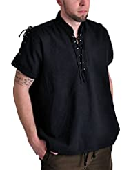 Chemise de pirate médiéval manches courtes cordelette col droit coton noir