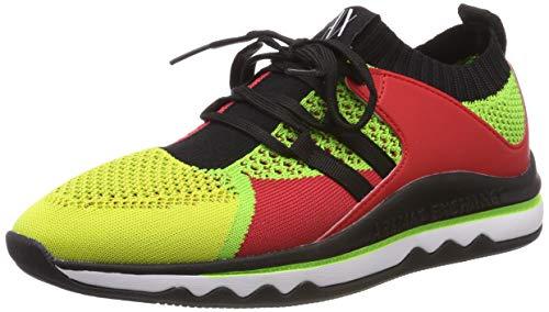 ARMANI EXCHANGE Multicolor Knitted Lace Up Sneaker, Scarpe da Ginnastica Basse Donna, Giallo (Fluo/Yellow/Red/Grn E455), 37 EU