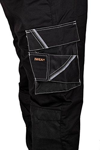 Iwea Stabile Arbeitshose Bundhose Berufshose Handwerker Cargohose Arbeitskleidung Grau IW063 (52/54 (L), Schwarz) - 6