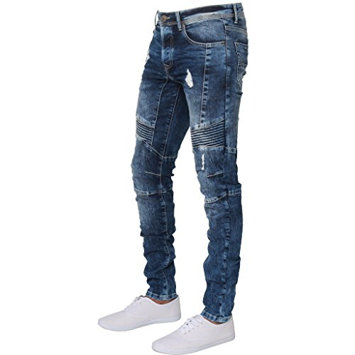 Ze ENZO ENZO Mens Designer Stretch Skinny Fit Biker Denim Jeans Pants All Waist Sizes