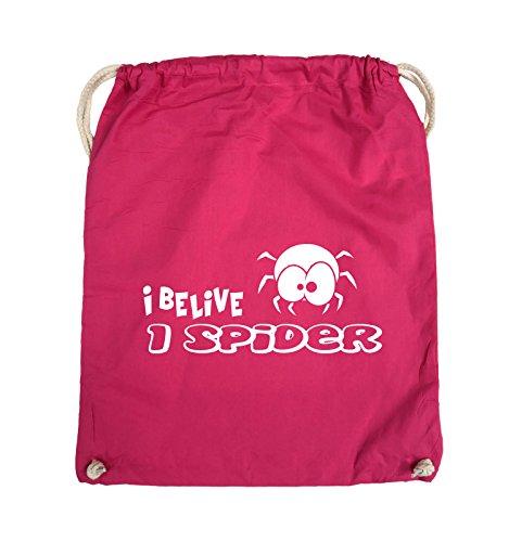 Comedy Bags - I BELIEVE I SPIDER - Turnbeutel - 37x46cm - Farbe: Schwarz / Pink Pink / Weiss