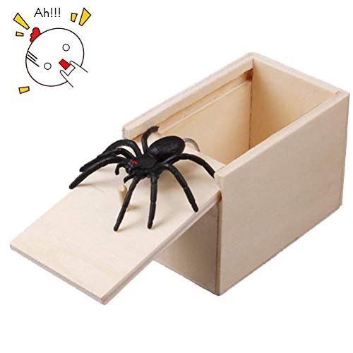 ider Prank Box,Wooden Surprise Box,April Fool's Day Spoof Funny Scare Small Wooden Box Spider Scary Girls for Kids Adults Party Favors Gifts ()
