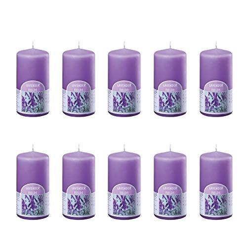 bolsius 10 große Duftkerzen im Set - Stumpenkerzen Duft Lavendel