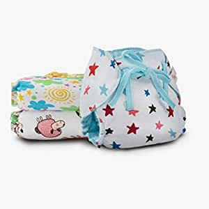 Superbottoms Dry Feel Langot -Organic Cotton Padded Nappy / Langot With Gentle Elastics & A Super Dry Feel Layer On Top (Printed, Size 1) Pack Of 3