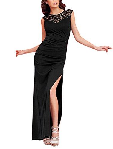 Brinny Sexy Élégante Dentelle mesh Plissée Divisé Robe Maxi Col Ronde Slim Femme Longue Robe de Soirée de Cocktail / de Mariée Noir / Belu / Rouge Noir