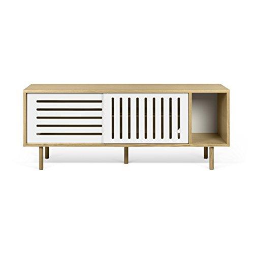 Paris Prix - Temahome - Meuble TV Design dann Stripes 165cm Chêne & Blanc