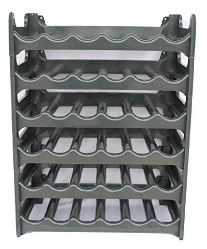 Weinregal stapelbar kunststoff für 36 Flaschen, stabiles leichtes Flaschenregal für Keller, Gastronomie und Lagerraum, modular erweiterbare Flaschen- und Weinlagerung, Anthrazit  -