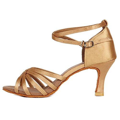 HROYL Zapatos de Baile/Zapatos Latinos de el Beige satén Mujeres ES7-F13 EU 40