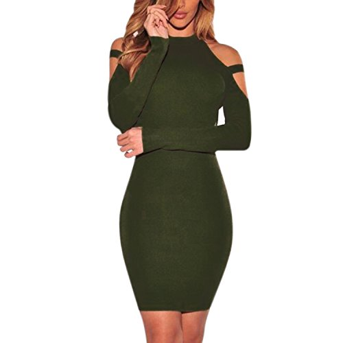 LAEMILIA Femme Robe Midi Crayon Épaule Nue Manche Longue Slim Découpé Clubwear Eté Sexy Robe Cocktail Vert
