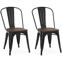 Chaise design industriel LIVERPOOL Noir (lot de 2)