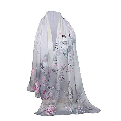 Emorias 1 Pcs Schal aus Gaze Urraca Pfingstrose Muster Sven Mode Dama Elegant Schal Frühling Winter Schal 160X50cm grau Cashmere-gaze