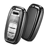 Eary Housse de clé de Voiture Audi, Coque pour clé pour Audi A4 A5 A6 A7 Q5 Q7 Q8 RS SQ Assise boîtier de clé à 3 Touches(Audi-Noir)