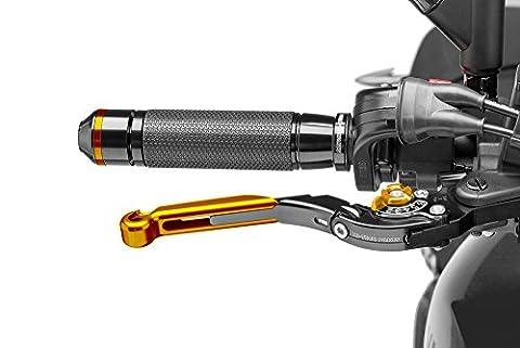 Leviers frein et embrayage Puig pour Honda CB 600 Hornet (PC41) 2007-2014 rabattable extensible, noir, avec regleur or et coulisseau or