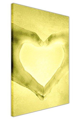 CANVAS IT UP Romantische Liebe Hände gelb Leinwand Kunst Wand Druck Home Dekoration Artwork Bilder Geschenke Größe: 101,6x 76,2cm (101x 76cm) (Gelb Artwork Canvas)