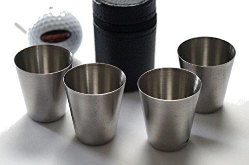 Trinkbecherset aus Metall in Etui (4 Becher)