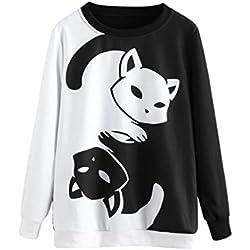 KaloryWee Sudadera para niña Sudadera de manga larga con estampado de gato,Sudadera para Mujer