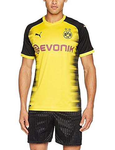 PUMA Herren Bvb Int'l Replica Shirt with Sponsor Logo T-Shirt, Cyber Yellow Black, M