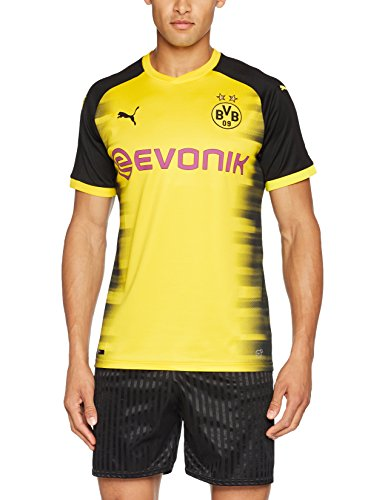 PUMA Herren Bvb Int'l Replica Shirt with Sponsor Logo T-Shirt, Cyber Yellow-Puma Black, M