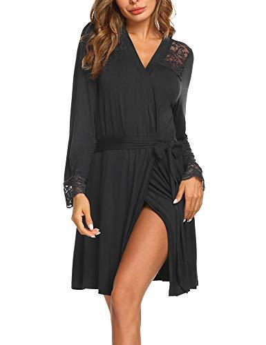tel Damen Kurz Nachtwäsche Sexy Robe Pyjama Reisemantel mit Spitzen V Ausschnitt für Schwangere Mollige ()